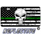 Punisher Thin Green Line Distressed Tactical Flag Forward Facing Reflective Metal License Plate
