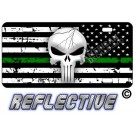 Punisher Thin Green Line Distressed Tactical Flag Reverse Facing Reflective Metal License Plate