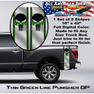 Thin Green Line Punisher Diamond Plate Truck Bed Band Stripe Decal Kit