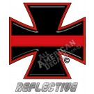 Thin Red Line Iron Cross Reflective Decal
