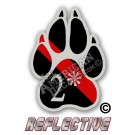 Thin Red Line 2* Ass to Risk K-9 Paw Tilted Line Reflective Decal