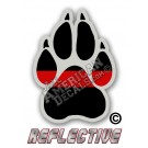 Thin Red Line K-9 Paw Reflective Decal