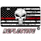 Punisher Thin Red Line Distressed Tactical Flag Forward Facing Reflective Metal License Plate