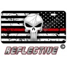 Punisher Thin Red Line Distressed Tactical Flag Reverse Facing License Plate