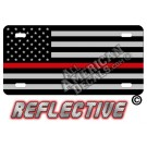 Thin Red Line Tactical Flag Forward Facing Reflective Metal License Plate