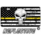 Punisher Thin Yellow Line Distressed Tactical Flag Forward Facing Plate