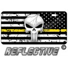 Punisher Thin Yellow Line Distressed Tactical Flag Reverse Facing License Plate